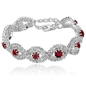 Silver Plated Red Crystal Bracelets